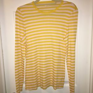 NWOT AUTHENTIC TORY BURCH YELLOW/WHITE STRIPE TOP